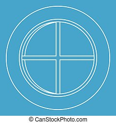 White round window icon outline - White round window icon...