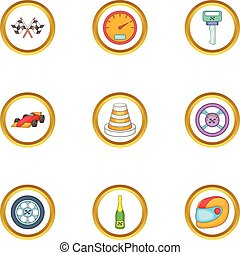 Car race icons set, cartoon style
