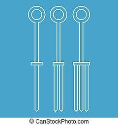 Tattoo needles icon outline - Tattoo needles icon blue...