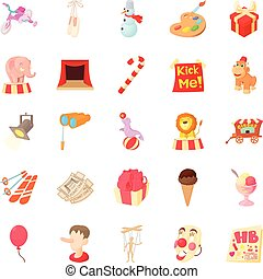 Delight icons set, cartoon style - Delight icons set....