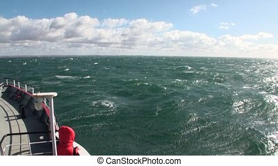 Cargo ship boat ferryboat in Patagonia. Water transport....