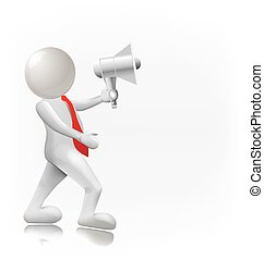 3D person with a megaphone