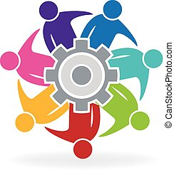 Teamwork meeting business people with gear solution logo vector