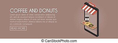 Coffee and donuts online shop concept. Isometric phone...
