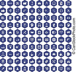 100 support icons hexagon purple
