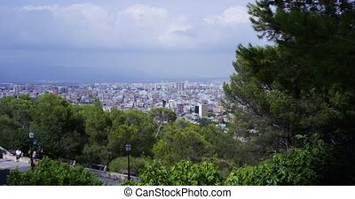 View from viewpoint of city with harbour. Palma de Mallorca....