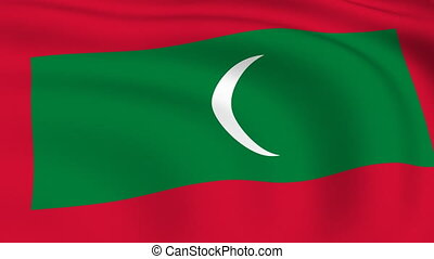Flying Flag of MALDIVES | LOOPED |