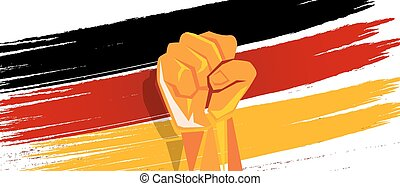 Germany flag independence painted brush stroke with hand fist fight patriotism