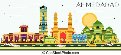 Ahmedabad Skyline with Color Buildings and Blue Sky. Vector...