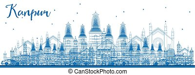 Outline Kanpur Skyline with Blue Buildings. Vector...