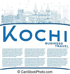 Outline Kochi Skyline with Blue Buildings and Copy Space....