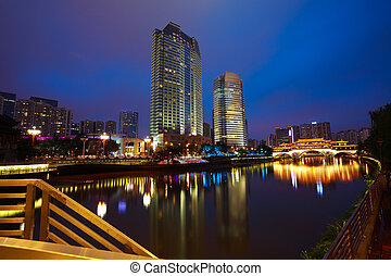 Rivers with city modern architecture background Night -...