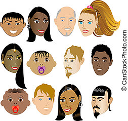 People Faces 4. Vector Illustration set of 12 peoples on a...