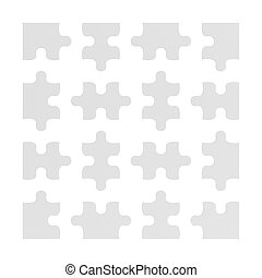 3d rendering of many white puzzle pieces isolated on white...