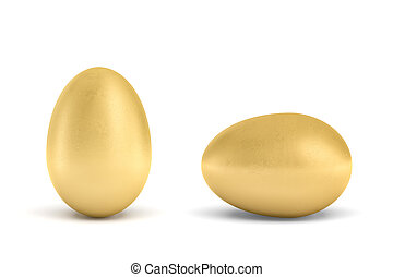 3d rendering of a whole golden egg with metallic reflection...