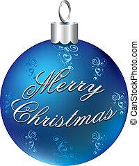 Shiny Blue Silver Ornament