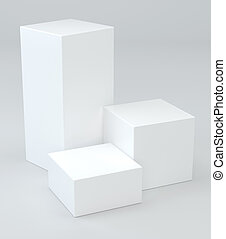 Three white cubes on graybackground. 3d rendering