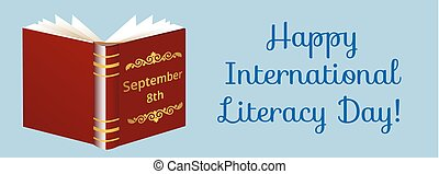 Happy International Literacy Day. Web banner with opened...