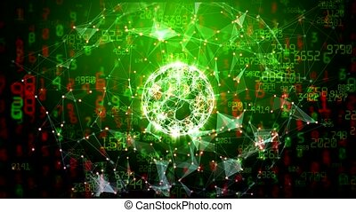 Abstract global network sphere with moving numbers, lines...