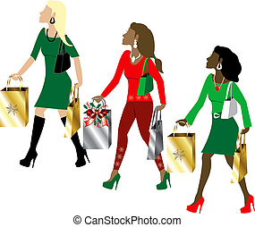 Women Christmas Shopping - Vector Illustration of three...