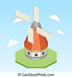 Windmill isometric vector illustration