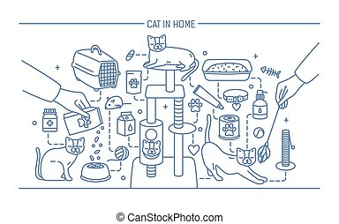 Cat in home contour banner with pet toys, meds and kitty...