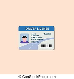 Driving license flat icon. This is a vector icon for...
