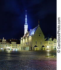 Unusual view of Tallinn town hall - Tallinn town hall at...