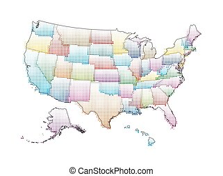 Vector map of the United States of America with Halftone Pattern