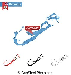 Bermuda blue Low Poly map with capital Hamilton.