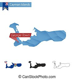 Cayman Islands blue Low Poly map with capital George Town.