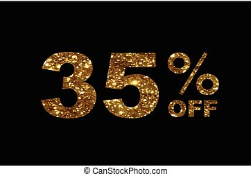 Luxury golden glitter thirty five percent off discount word text