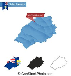 Saint Helena blue Low Poly map with capital Jamestown. -...