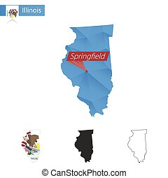 State of Illinois blue Low Poly map with capital...