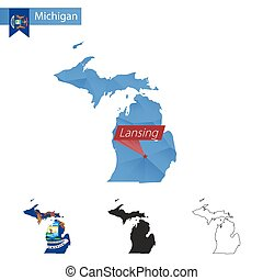 State of Michigan blue Low Poly map with capital Lansing. -...