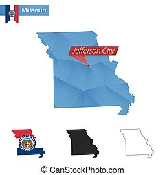 State of Missouri blue Low Poly map with capital Jefferson...