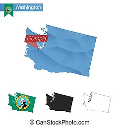 State of Washington blue Low Poly map with capital Olympia.