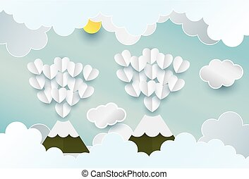 Paper art heart sun mountain cloud in the sky concept, and...