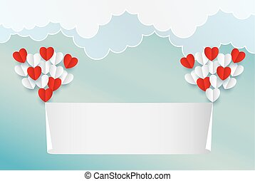 Paper art heart sun cloud in the sky concept, and...