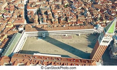Aerial view of Piazza San Marco and the Campanile in Venice,...