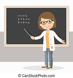 Young female teacher on math lesson at blackboard in classroom