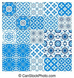 Majolica tile collection azulejo design. Blue pattern with...