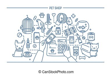 Pet shop contour banner with animals and meds selling....