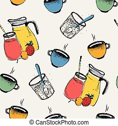 Breakfast seamless pattern. Cold, hot drinks with fruits and...