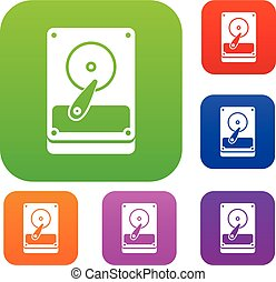 HDD set collection - HDD set icon in different colors...
