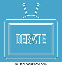 TV Debate icon, outline style
