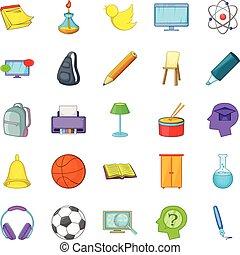 Instruction icons set, cartoon style
