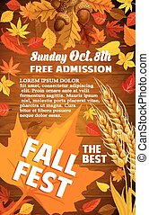 Fall harvest festival banner with autumn leaf on wooden...