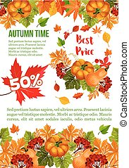 Autumn sale banner template for Thanksgiving Day special...