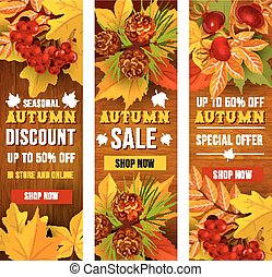 Autumn sale and discount price banner template set - Autumn...